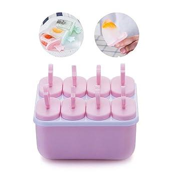 Compra KOBWA Juego de 8 moldes Reutilizables para Hacer paletas de Hielo o Helado, moldes para Hacer Mini moldes de Helado para niños, sin BPA en Amazon.es