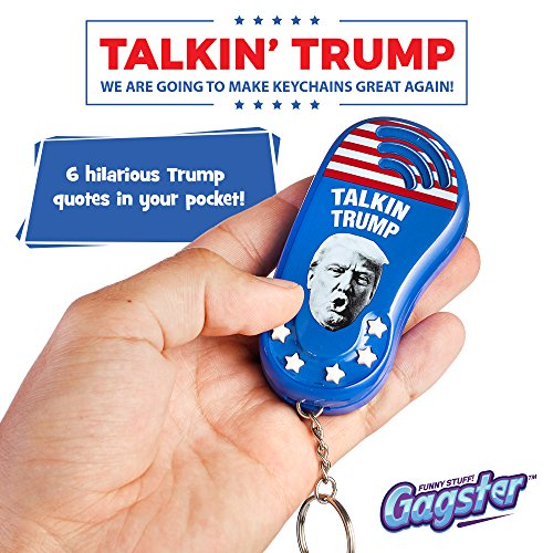 Talking Trump Keychain Funny Gag Sound Machine Toy | 6 Different Sayings In Donald's Real Voice | Classic Quotes In Your Pocket | Sound Effect Political Gift | Batteries Included