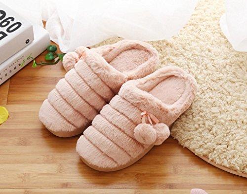 Women s casa zapatillas de algodón interior ocio cálido zapatillas de ante, 3, tamaño mediano