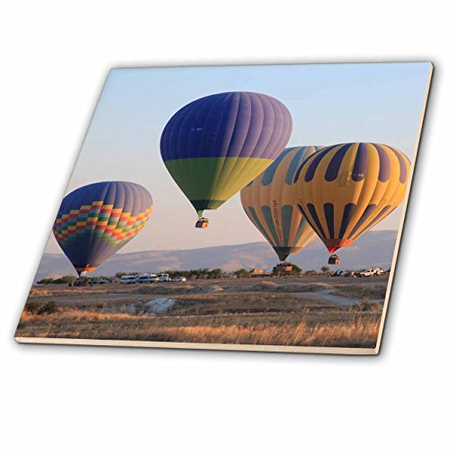 3dRose Danita Delimont - Travel - Turkey, Anatolia, Cappadocia, Goreme. Hot air balloons at lift off. - 6 Inch Glass Tile (ct_277001_6) by 3dRose