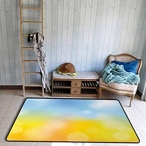 Children's Rug Yellow and Blue Gradient Toned Autumn Season Frame in Pastel with Hazy Effects Anti-Fading W47 xL59 Marigold Light Blue