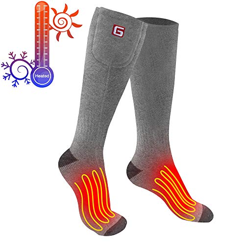 Greensha Rechargeable Electric Heated Socks,Men Women Battery Powered Heated Socks Kit,Winter Warm Thermal Heated Socks for Chronically Cold Feet,Sports&Outdoors Camping Hiking Hunting Heating Socks