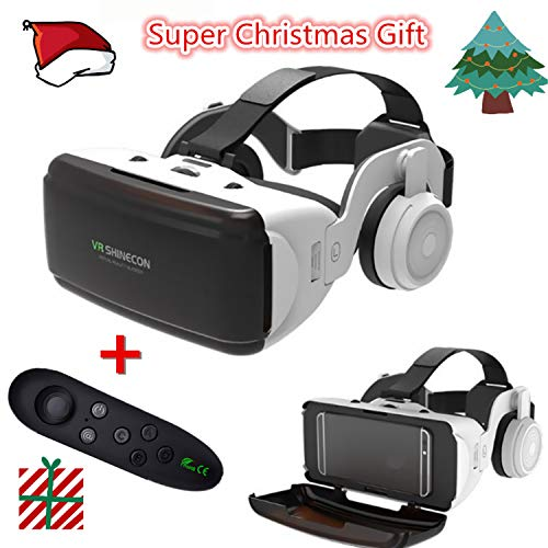 """Sincerest 3D VR Virtual Reality Glasses Box Stereo VR Headset Helmet for 4.0~6.0"""" iOS Android Cellphone Such as Fit for iPhone Samsung HTC LG Sony Huawei Nokia Phone etc.+Bluetooth Rocker"""