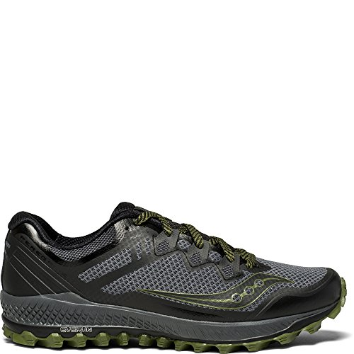 Saucony Men's Peregrine 8 Running Shoe, Grey/Black, 12.5 Medium US (Runner Trail Wolverine)