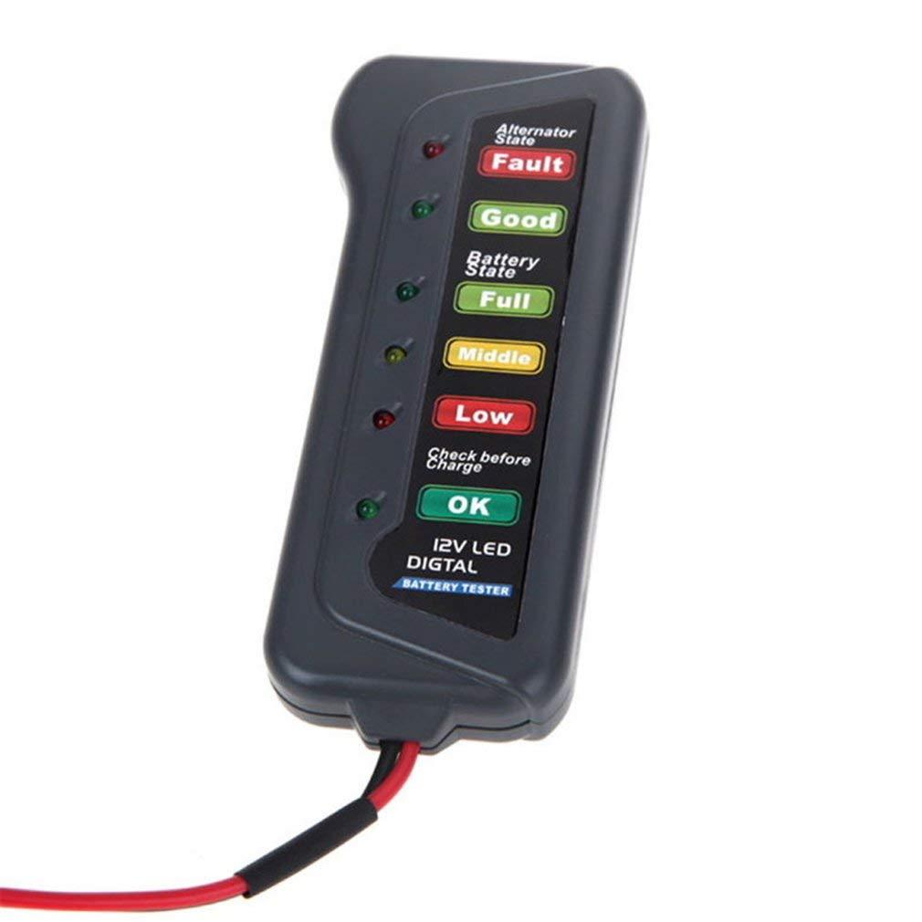 ZYCX123 Funciones del probador de la bater/ía del Coche 12V de la bater/ía del alternador Tester Multi Tester Prueba de Estado de la bater/ía y alternador de Carga con indicador LED para el Coche