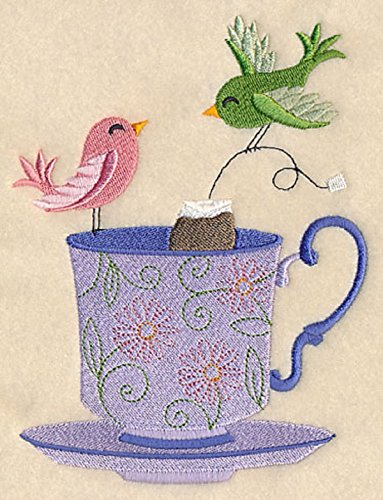 Embroidered Teacup - Embroidered Kitchen Towel Birds Tea Bag Teacup Design