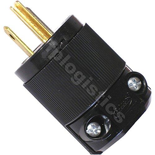 Hubbell HBL5266CM2 Plug, 15 Amp, 125V, 5-15P, All Black