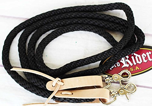 PRORIDER Horse Roping Tack Western Barrel Contest Reins Nylon Braided Snap 7' Tack 607203