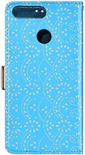 Uposao Kompatibel mit Huawei P Smart 2018 Hülle Leder Handyhülle Blumen Muster mit Reißverschluss Kartenfächer Handschlaufe Schutzhülle Flip Case Klapphülle Handytasche Etui,Rose Gold