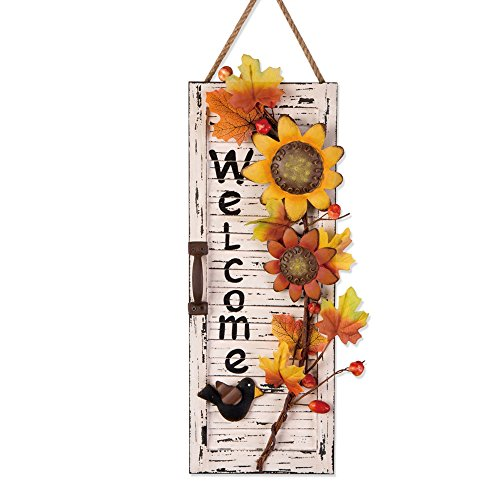 Glitzhome Handcrafted Wooden/Iron Sunflowers Wall Sign (Fall Outdoor Decorating)
