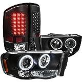 Dodge Ram 1500 2500 3500 Black Headlights, Black Led Tail Lights Lamps