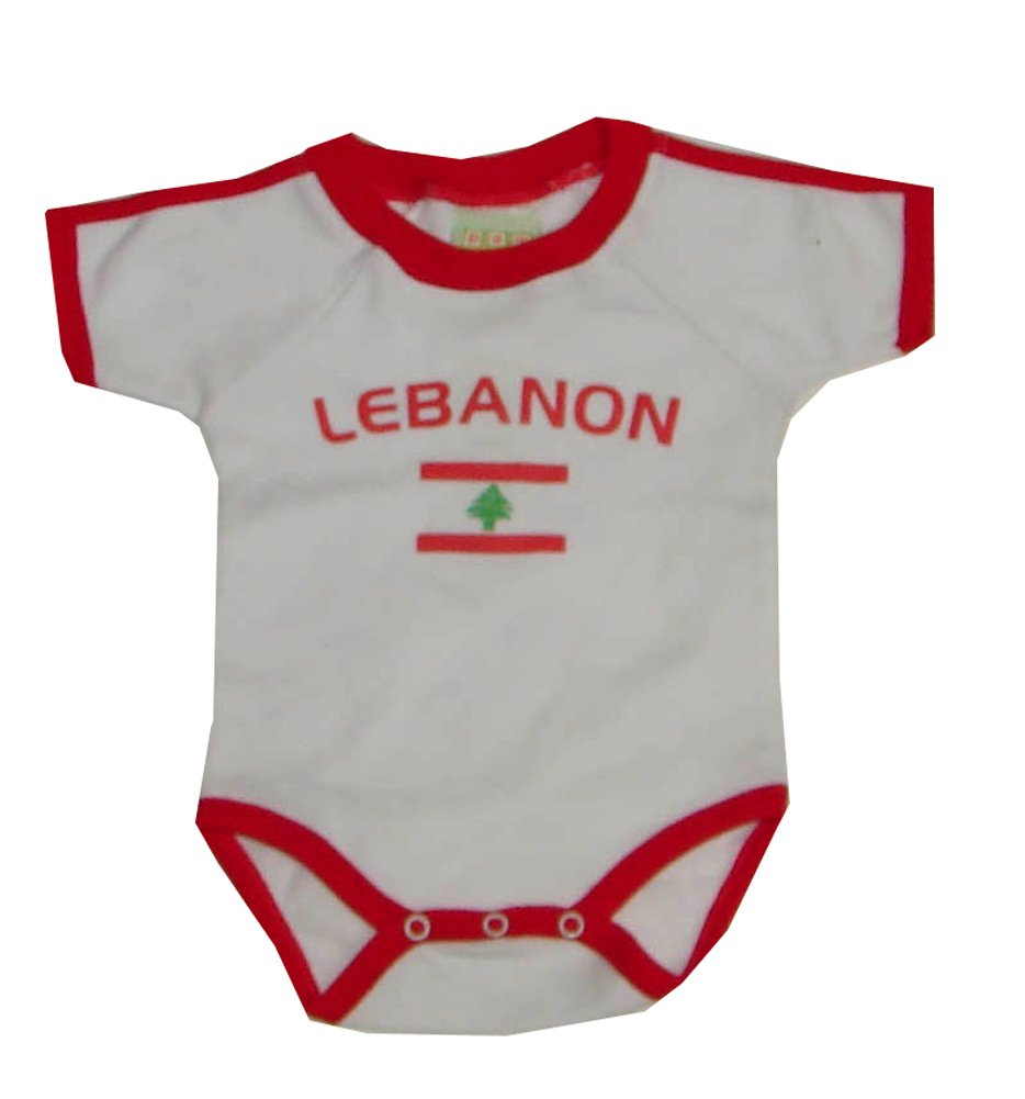 PAM GM Lebanon Bodysuit with Flag Print Red 24 Months Pam GM Concepts 3392Liban24