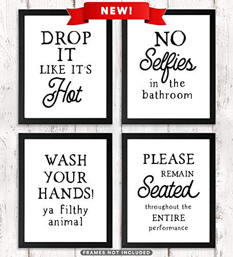Paper Maven Delights Funny Bathroom Signs UNFRAMED - Set of 4 Prints, Humorous Wall Art, 8 x 10 inches