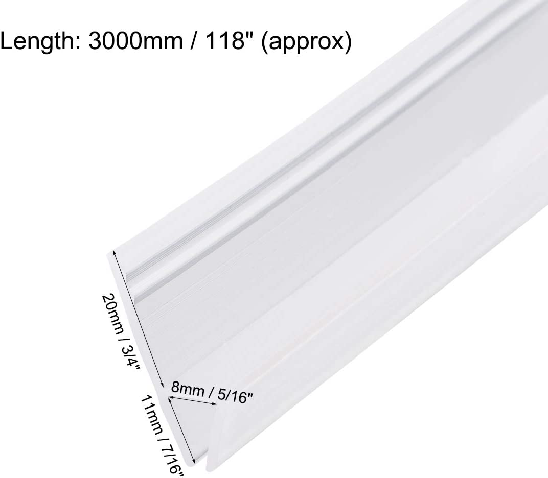 1//2-Inch 12mm 20mm sourcing map Frameless Glass Shower Door Sweep 1000mm Length Door Bottom Side Seal Strip h-Type with 3//4-Inch Drip Rail Glass x 39.37-Inch