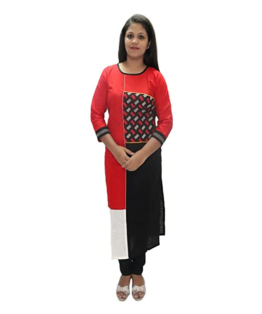 9df63fc500a Women latest Designer Kurti Red and Black colour Combination: Amazon ...