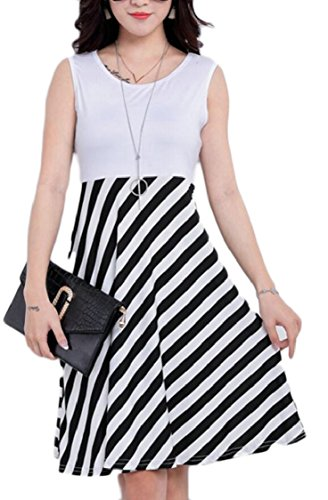 Sleeveless Line Summer Neck Striped 6 A Patchwork Dress Womens Scoop Jaycargogo 8EgSqx