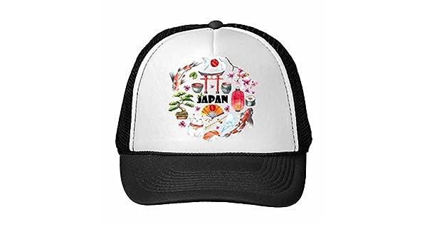 DIYthinker Cultura Japón Palillos Linda Acuarela Bandera Nacional Gato De La Suerte Sakura Sushi Carpa Arco Linterna Ilustración Del Camionero Gorra De ...