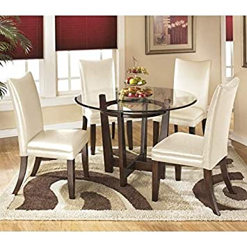 Ashley Charrell 5 Piece Glass Round Dining Set in Ivory