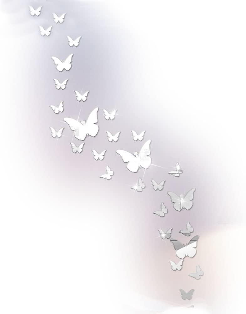 Sis Butterfly Mirror Wall Stickers Acrylic Wall Decals for Wall Decor Home Decor (Butterfly-Silver)