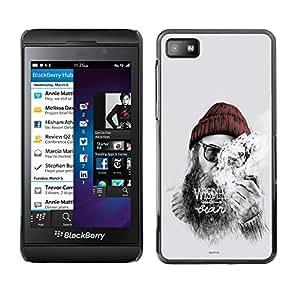 CASECO - Blackberry Z10 - Wisdom Hipster - Delgado Negro Plástico caso cubierta Shell Armor Funda Case Cover - Hipster Sabiduría