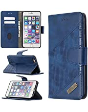 Miagon iPhone 7/8/SE 2020 Phone Case,Shockproof Crocodile Splicing PU Leather Flip Wallet Cases with Magnetic Kickstand Money Pouch Folio TPU Bumper Gel Protective Cover,Blue