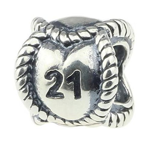 Number 7 Sterling Silver Charm - 21st Birthday Charms 925 Sterling Silver Charm I'm 21 My Youth Memory Twenty-one 21st Birthday Fit European Style Bracelet Jewelry