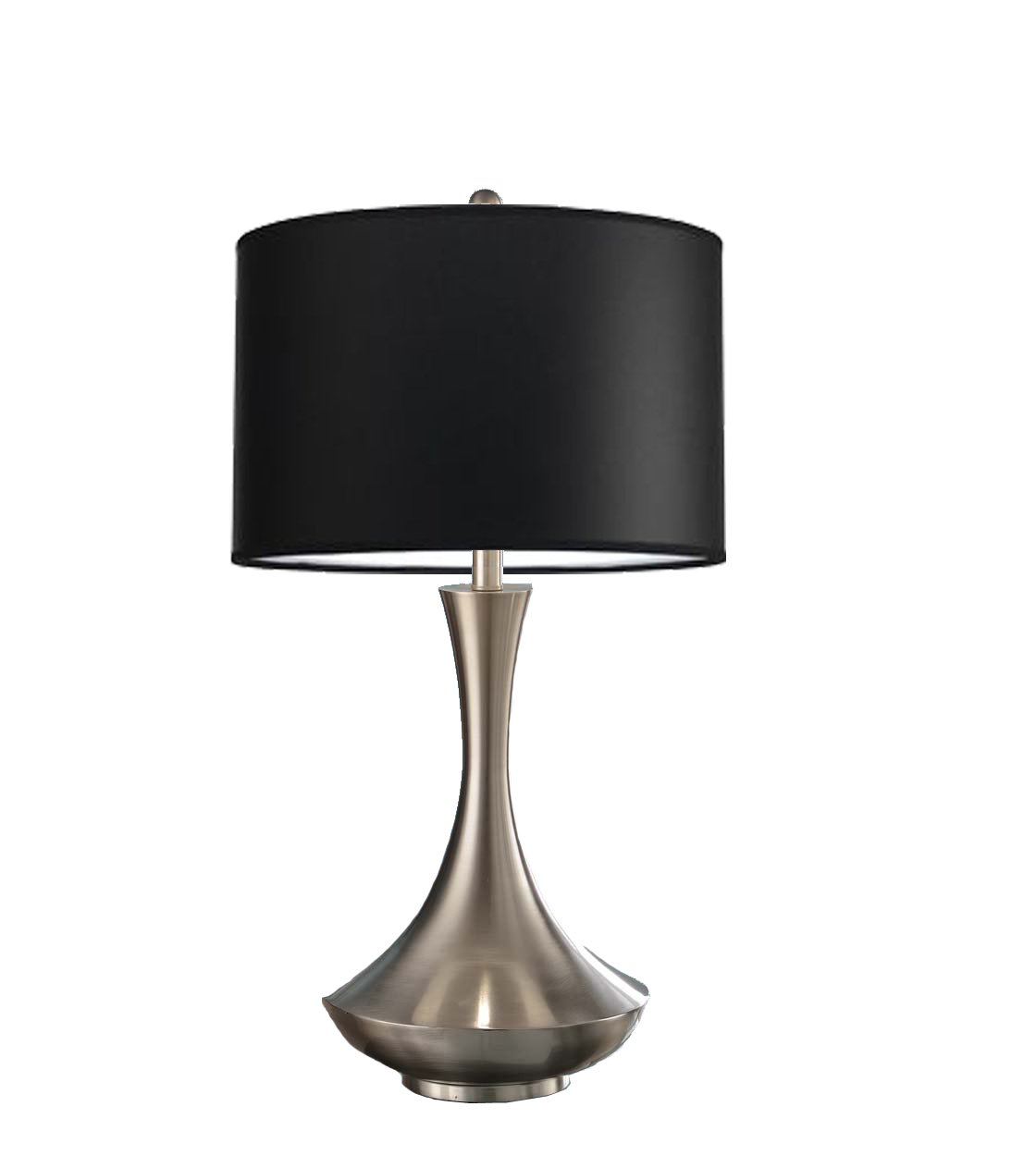 Artiva USA Aladdin, Contemporary Design, 30-Inch Brushed Steel Energy Saving Compact Fluorescent Table Lamp with Black Linen Shade by Artiva USA