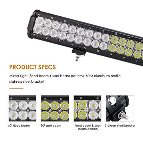 Auxbeam LED Light Bar 30 Inch LED Bar 198W Combo 66pcs 3W Led Chips Driving Light Waterproof for Off-Road Truck 4x4 Military Mining Boating Farming and Heavy Equipment by Auxbeam (Image #2)