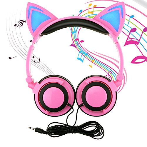 Buluri Kids Headphone Over Ear, Cat Ear Headphone Foldable Wired Earphone with LED light Flashing Glowing for Children Adults, 3.5 Jack for PC, Tablets, iPhone, Android Smart Phone