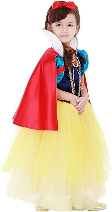 OuYou Vestido Blancanieves Niña con Capa Disfraz Cosplay para ...