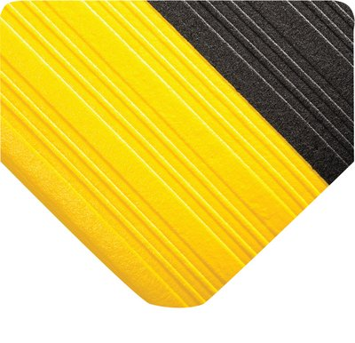 Wearwell PVC 451 Tuf Sponge Light Duty Anti-Fatigue Mat, for Dry Areas, 2' Width x 3' Length x 3/8'' Thickness, Black/Yellow