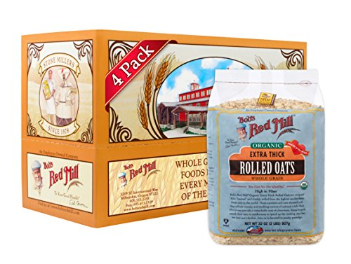 Bob's Red Mill Organic Extra Thick Rolled Oats, 32 Ounce (Pack of 4)