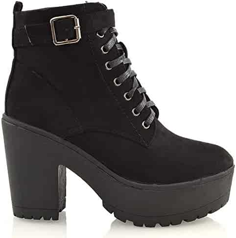 0eb04beabec ESSEX GLAM Womens Synthetic Chunky Platform Cleated Sole Lace Up Ankle Boots
