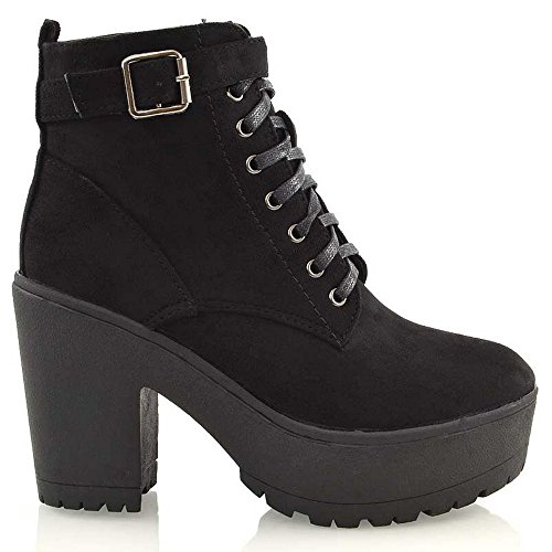 ESSEX GLAM Womens Synthetic Chunky Platform Cleated Sole Lace Up Ankle Boots (US 8, Black Faux Suede) ()