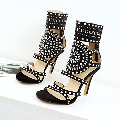 Caviglia 1 Donna Gladiator Sandali Moda black Zanpa CIXwnqHxIT