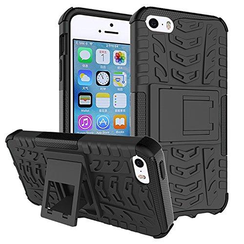Für Apple iPhone 5 5G 5S / iPhone SE (4 Zoll) Hülle ZeWoo® Heavy Duty Case Cover Outdoor Sport Tasche Shockproof Schutzhülle Gürtel-Clip Ständer - HH002 / Schwarz