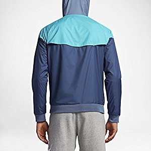 NIKE Mens Windrunner Hooded Track Jacket Ocean Fog/Omega Blue 727324-404 Size Large