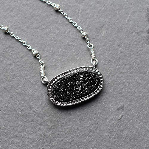 (Oval Black Druzy Pendant Sterling Silver Necklace Jewelry Gift for Women)