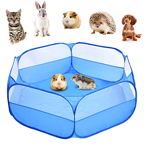 Kaduocom Portable Small Animal Playpen, Guinea Pig Cage, Outdoor/Indoor Exercise Tent House for Rabbits/Hamster/Puppy(Bule no Cover)