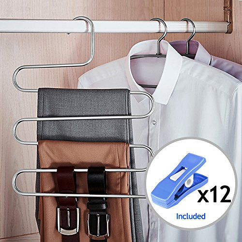 HOMEIDEAS 6 Pack Pants Hangers S-Shape Stainless Steel Clothes Hangers Space Saving Hangers Closet Organizer for Pants Jeans Scarf(5 Layers,6Pcs) - bedroomdesign.us