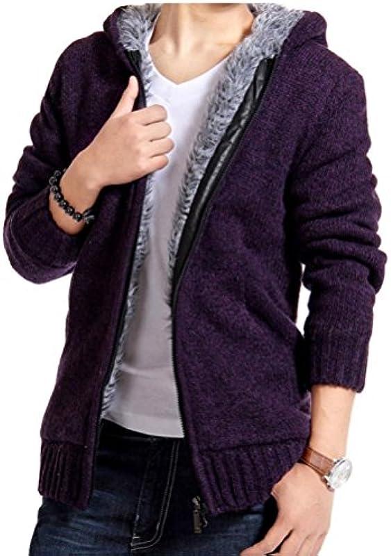 Męska kurtka jesień zima Wystrzałowe do robienia na drutach z zamkiem błyskawicznym z kapturem Cardigan jednokolorowy: Odzież