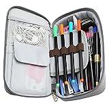Homecube Pencil Case, Big Capacity Pen Case Desk Organizer with Zipper for School & Office Supplies - 8.74x4.3x2.17 inches, Gray