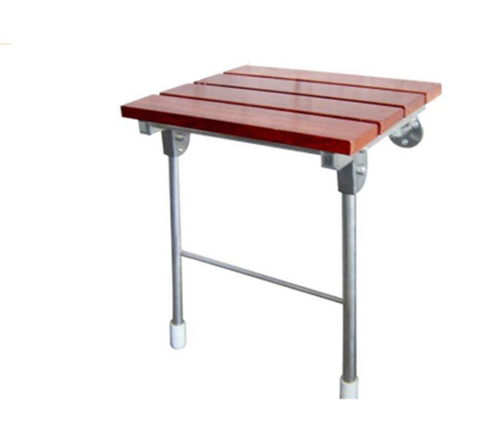 GRJH® Tabouret de douche pliant - Pliable Antidérapant Support en acier inoxydable Panneau en bois massif Salle de