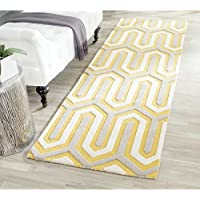 Safavieh Cambridge Collection CAM351Q Handcrafted Moroccan Geometric Gold and Grey Premium Wool Runner (26 x 8)