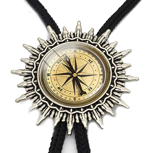 JIA-WALK Fashion Vintage Style Compass Patterns Glass Cabochon Silver Bolo Ties Western Hand Craft Slide Neckties Metal Tie,T5 from JIA-WALK