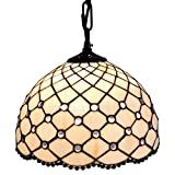 Amora Lighting AM119HL12 Jewel Tiffany Style Hanging Lamp 12 In