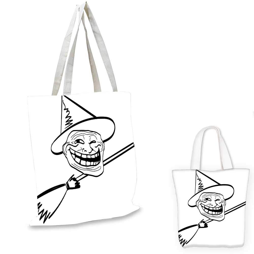 "Humor fashion shopping tote bag Halloween Spirit Themed Witch Guy Meme Lol Joy Spooky Avatar Artful Image Print canvas bag shopping Black and White. 15""x15""-11"""