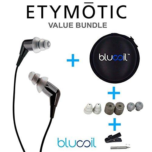Etymotic Research MC5 Noise Isolating In-Ear Earphones Black PLUS Blucoil Hard Case for Earphones