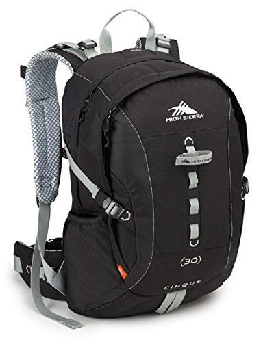High Sierra Cirque 30L Internal Frame Backpack; High-Performance Pack for Backpacking, Hiking, Camping, Black/Black/Silver