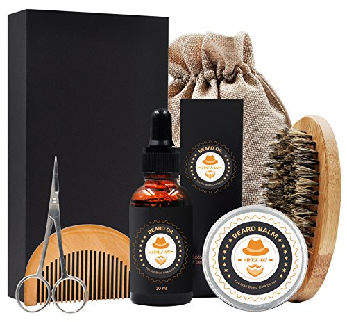 XIKEZAN Mens gifts for Men Beard Care Grooming & Trimming Kit Beard Oil Leave-in Conditioner + Mustache & Beard Balm Wax+Beard Brush+Beard Comb+Barber Scissors for Styling Shaping & Growth